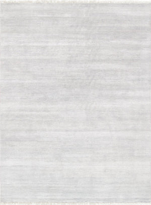 10' X 14' Grey Modern Rug Silk and Wool -Area Rugs-Rug Shop and More