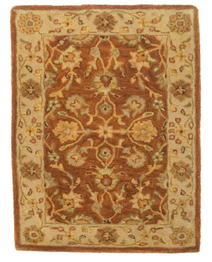 2' x 3' Floral Rust Wool Small Rug-Doormats-Rug Shop and More