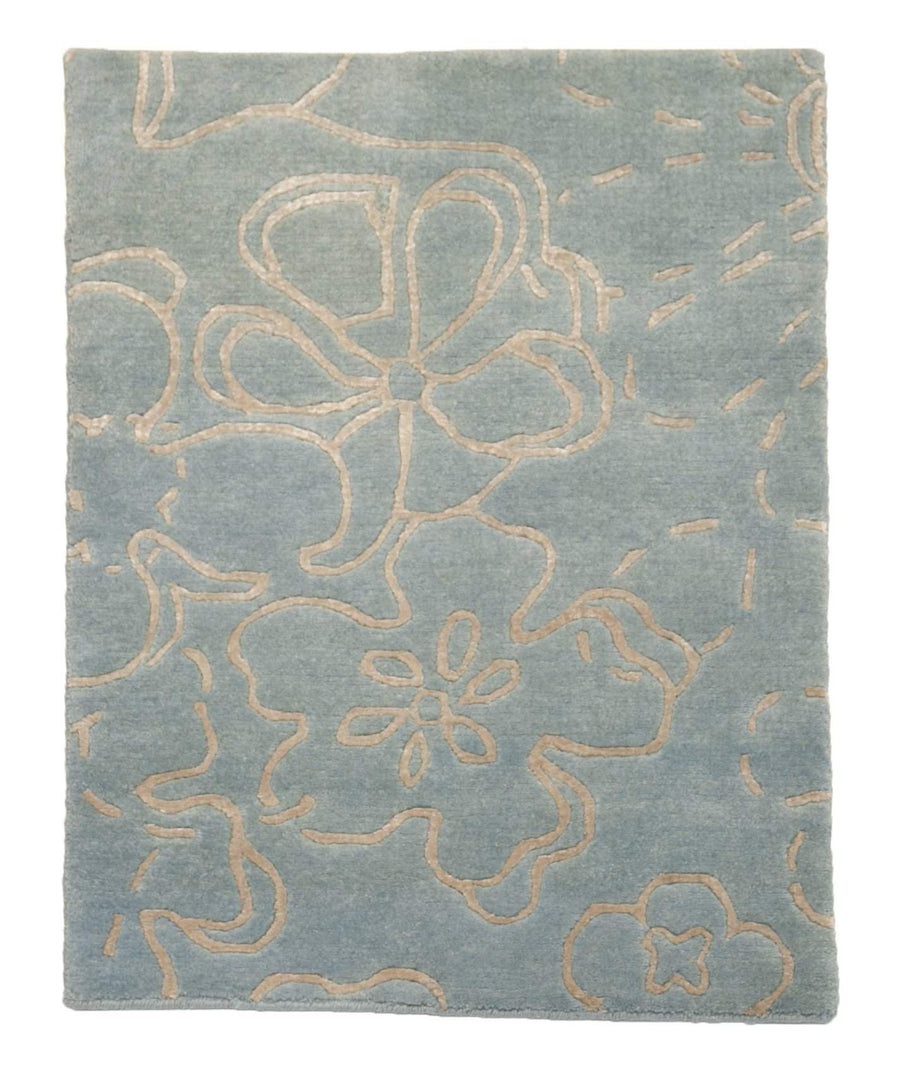 2' x 3' Modern Blue Flower Wool Small Rug-Doormats-Rug Shop and More