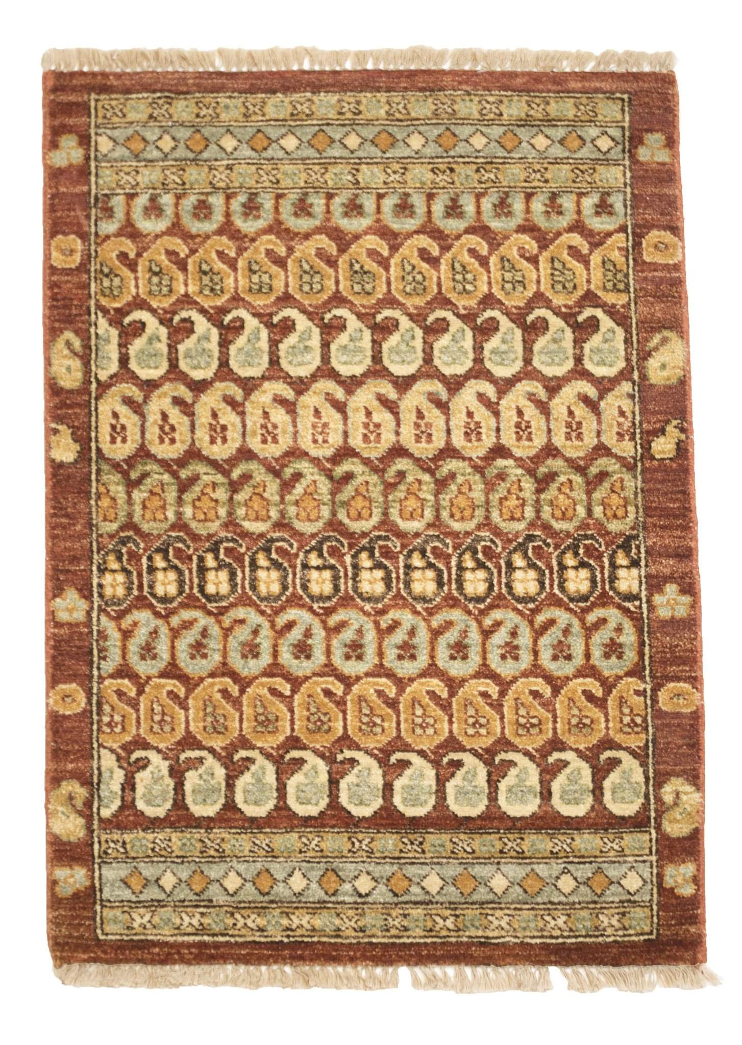2' x 3' Paisley Hand Knotted Wool Area Rug-Area Rugs-Rug Shop and More