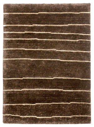2' x 3' Modern Brown Stripe Wool Small Rug-Area Rugs-Rug Shop and More