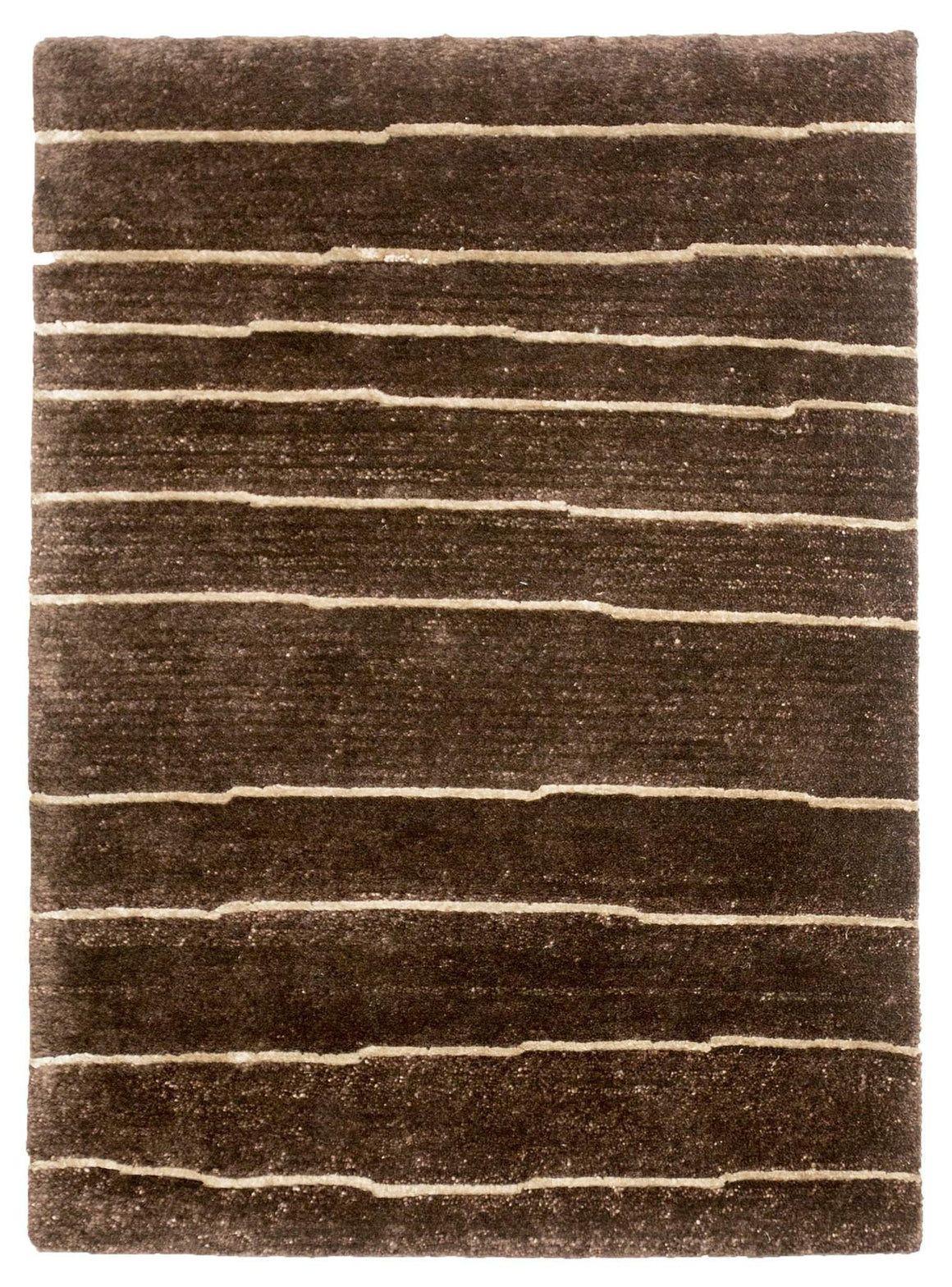 2' x 3' Modern Brown Stripe Wool Small Rug by Rug Shop and More Area Rugs - Rug Shop and More