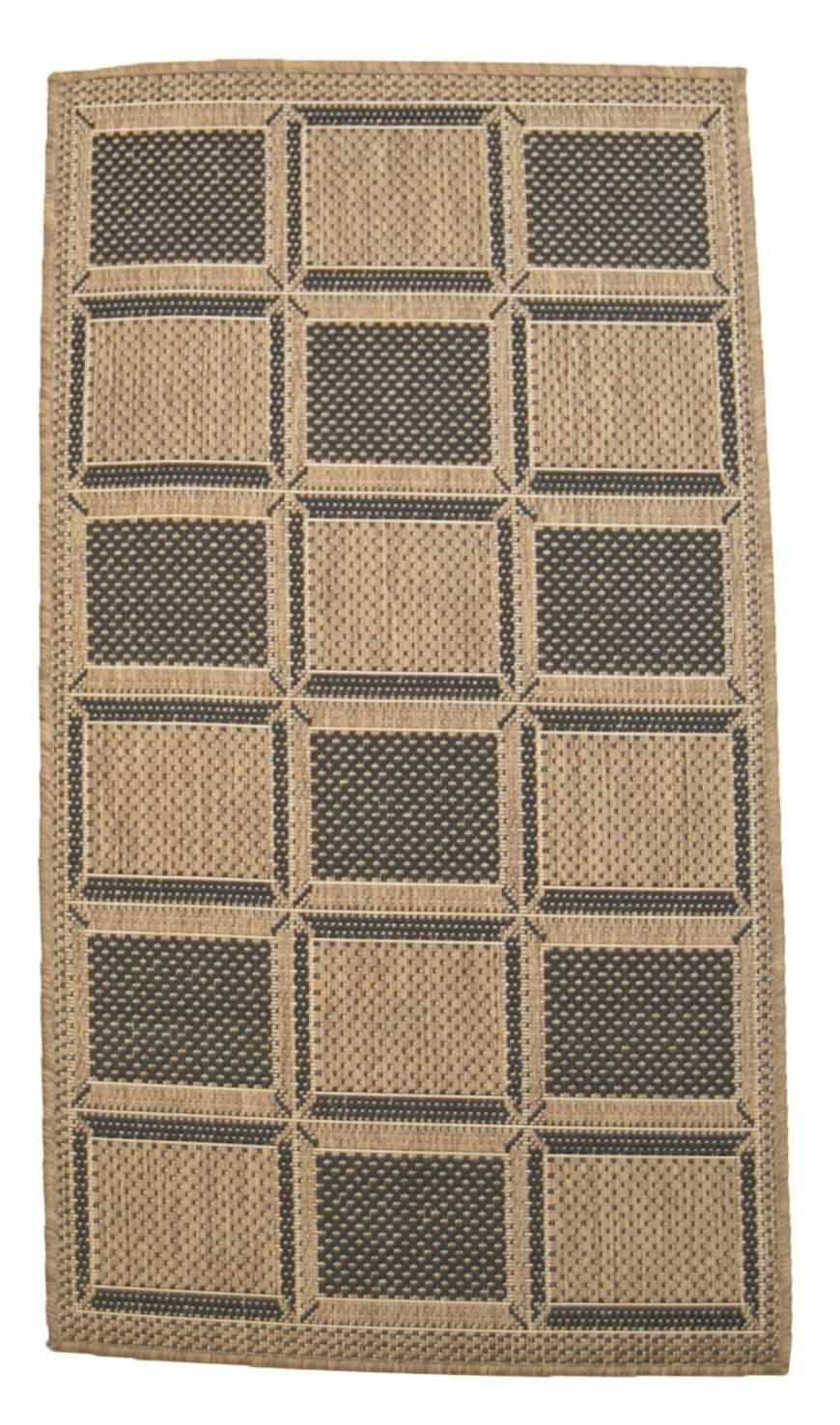 2' x 4' Recife Square Patterned Indoor Outdoor Small Area Runner