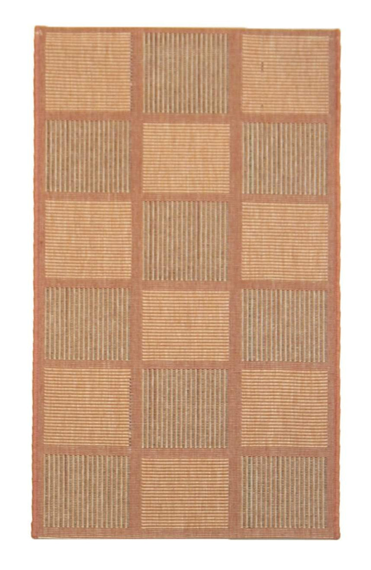 2' x 4' Recife Square Patterned Terracotta Indoor Outdoor Small Area Runner