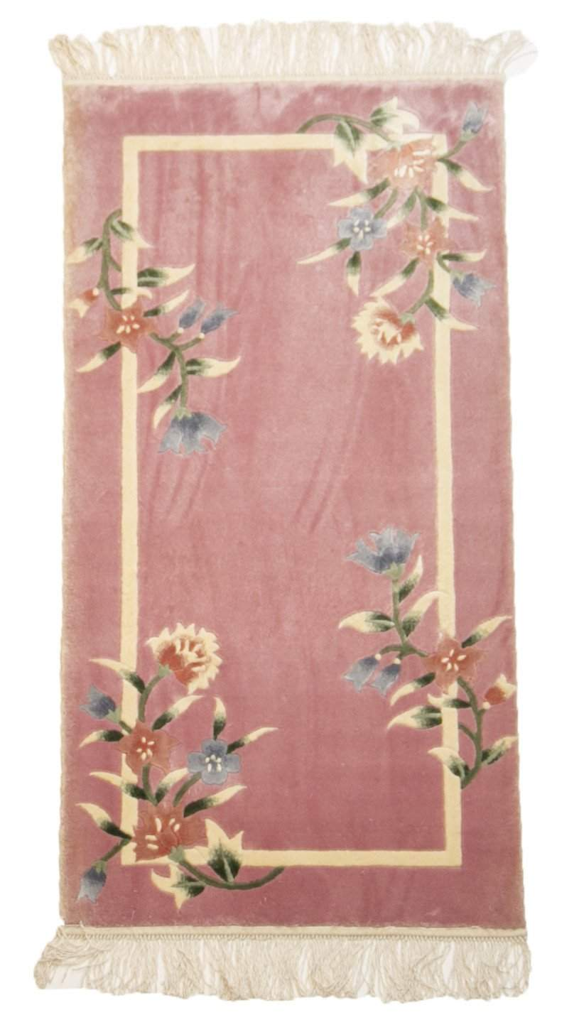 2' x 4' Silk Art Deco Chinese Pink Rug-Area Rugs-Rug Shop and More