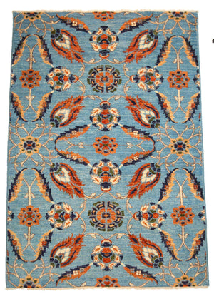 4' x 6' Transitional Blue Floral Wool Rug-Area Rugs-Rug Shop and More