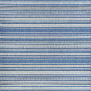 Recife Gazebo Stripe Blue Square Outdoor Rugs-Rug Shop and More