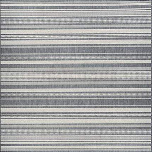 Recife Gazebo Stripe Grey Square Outdoor Rugs-Rug Shop and More