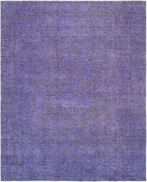 9' X 12' Overdyed Purple Wool Area Rug