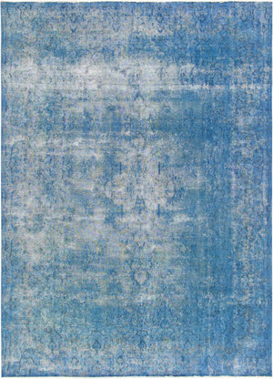 10' X 13' Vintage Overdyed Blue Wool Rug Area Rugs - Rug Shop and More