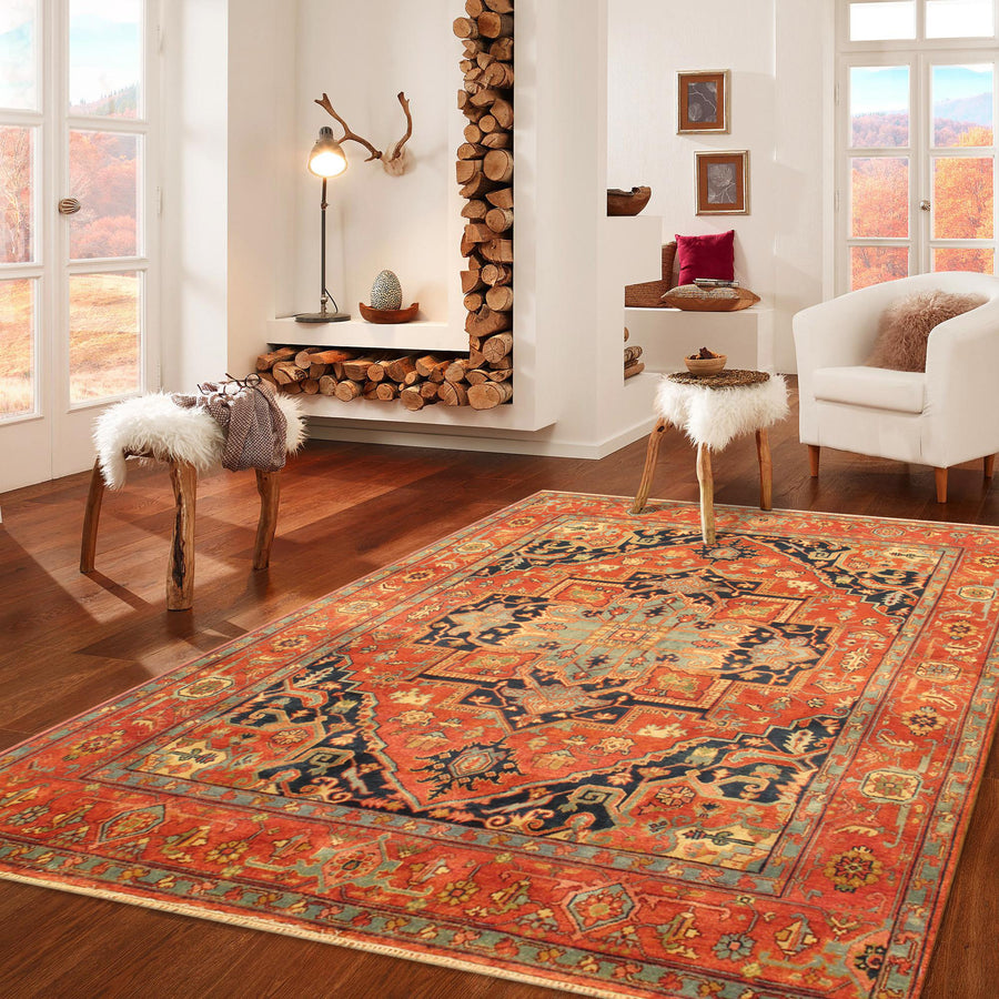 "8' 1"" X 10' 0"" Serapi Hand Knotted Wool Area Rug"