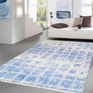 Modern Blue Square Silk Area Rug