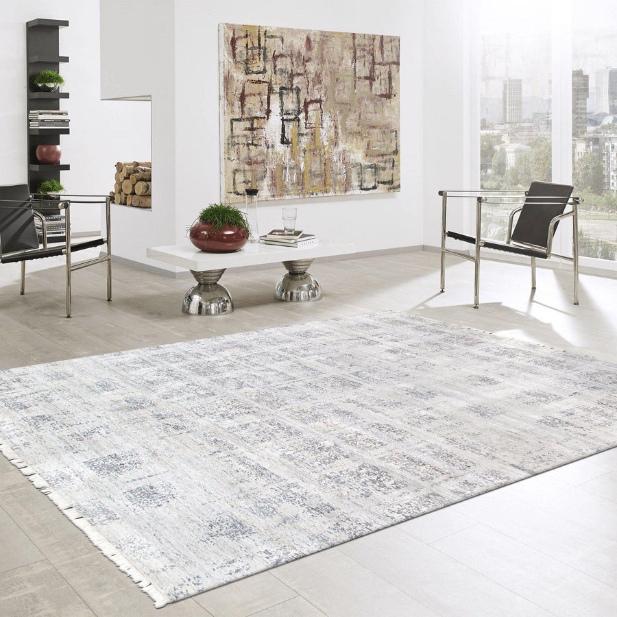 Modern Grey Square Silk Area Rug