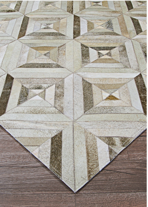Chalet Blocks Leather Cowhide Rugs