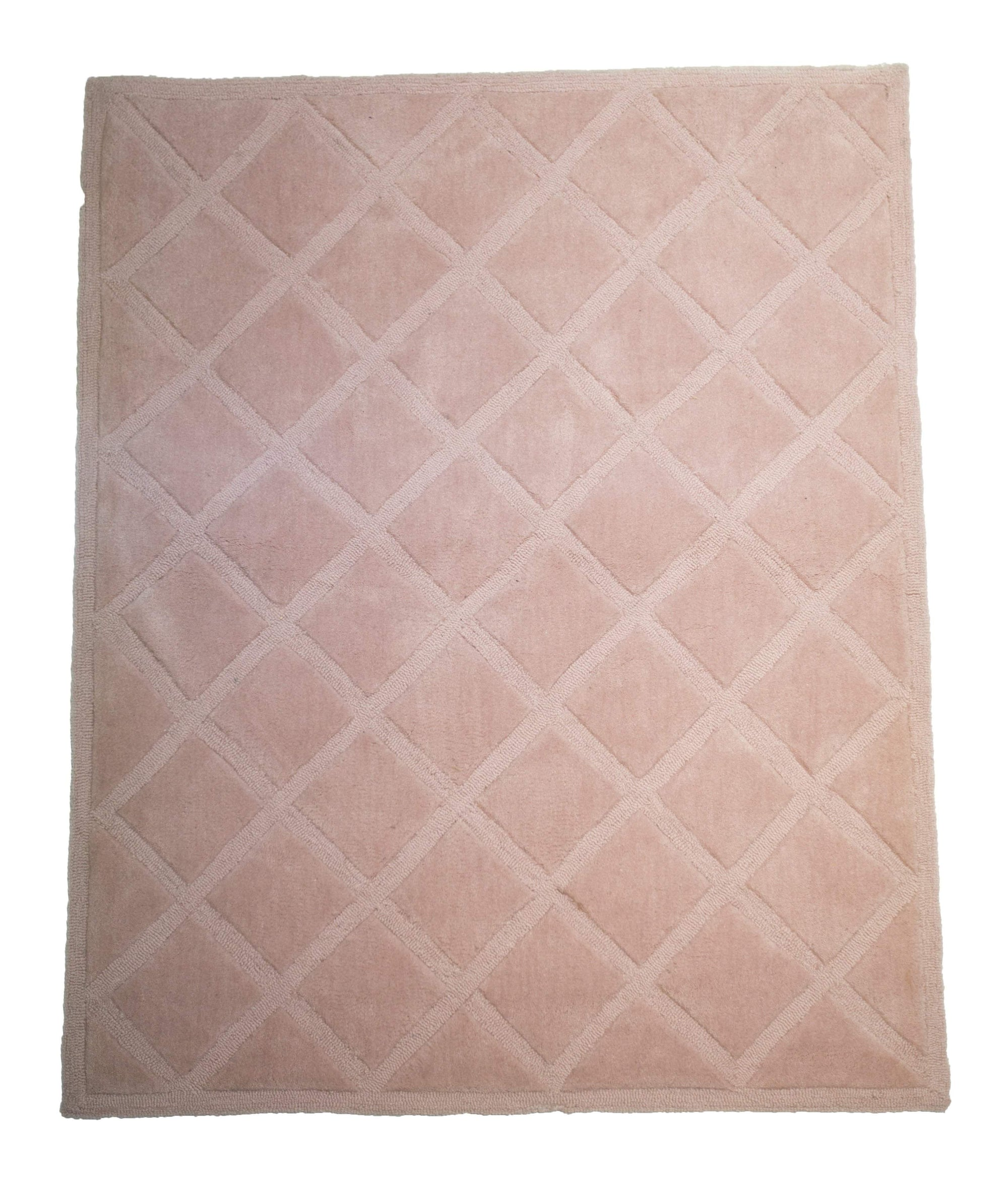 Girls Baby Pink Diamond Design Tufted Area Rug-Rug Shop and More