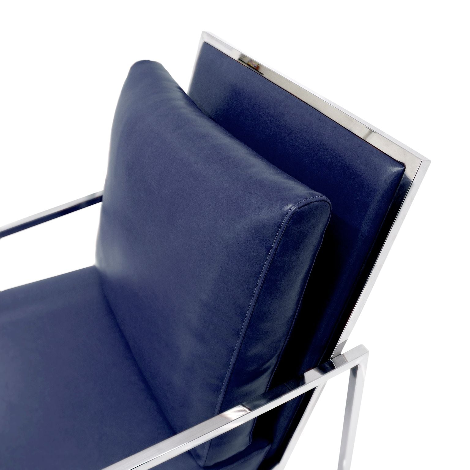 Luxe Blue Faux Leather Modern Armchair