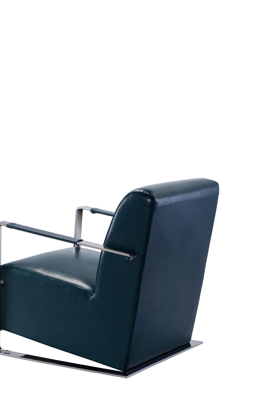 Luxe Modern Teal Leather Armchair