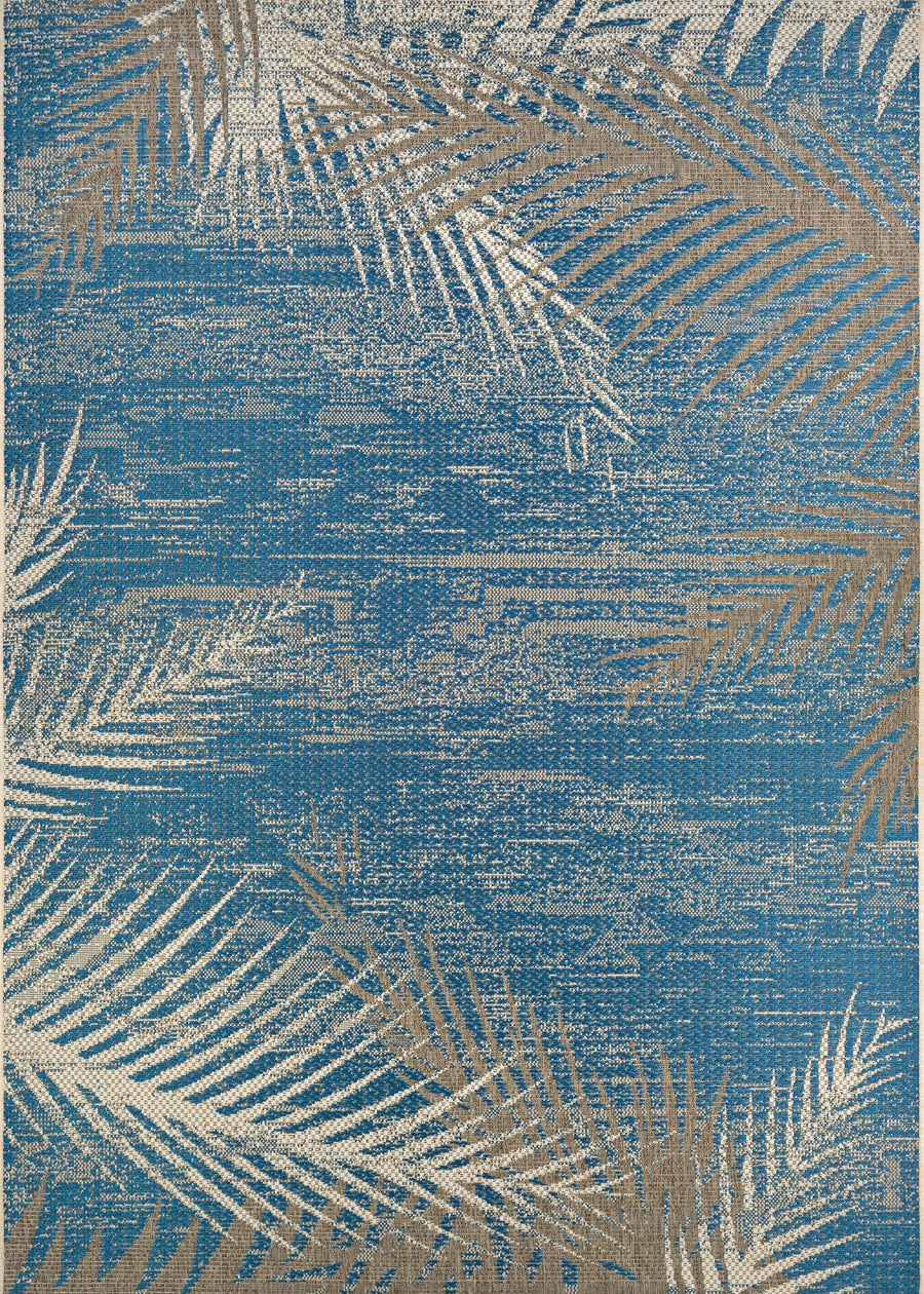 Monaco Tropical Palms Blue Outdoor Rugs-Rug Shop and More