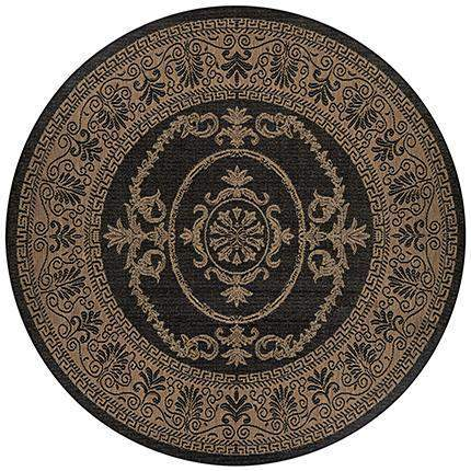 Recife Antique Medallion Black Round Outdoor Rugs-Rug Shop and More