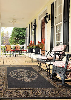 Recife Antique Medallion Brown Outdoor Rugs-Rug Shop and More