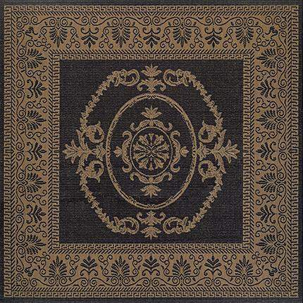 Recife Antique Medallion Black Square Outdoor Rugs-Rug Shop and More