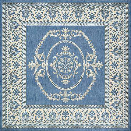 Recife Antique Medallion Blue Square Outdoor Rugs