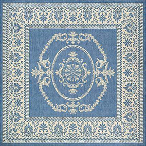 Recife Antique Medallion Blue Outdoor Rugs-Rug Shop and More