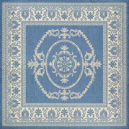 Recife Antique Medallion Blue Square Outdoor Rugs-Rug Shop and More