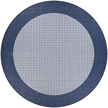 Recife Checkered Field Blue Round Outdoor Rugs-Rug Shop and More