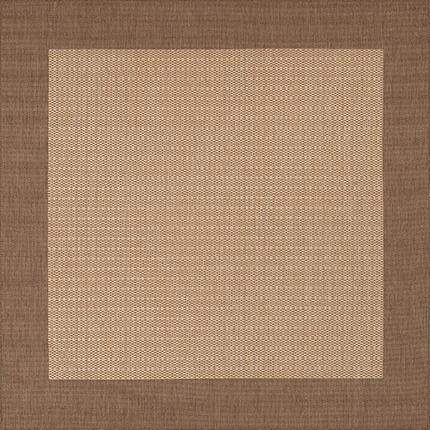 Recife Checkered Field Brown Square Outdoor Rugs