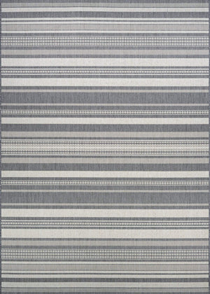Recife Gazebo Stripe Grey Outdoor Rugs-Rug Shop and More