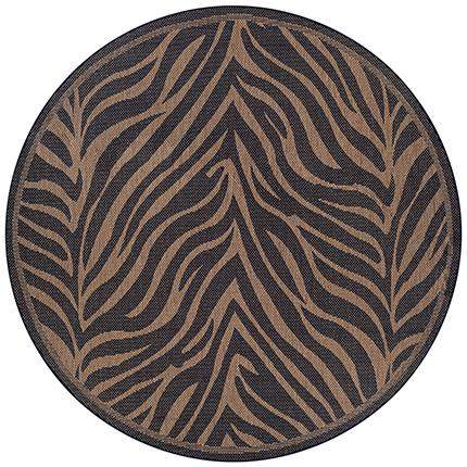 Recife Outdoor Zebra Animal Print Round Rug-Rug Shop and More
