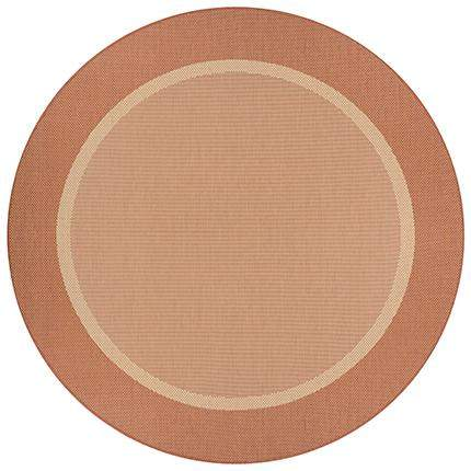 Recife Stria Terra Cotta Round Outdoor Rugs-Rug Shop and More