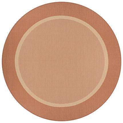 Recife Stria Texture Round Orange Outdoor Rugs-Rug Shop and More