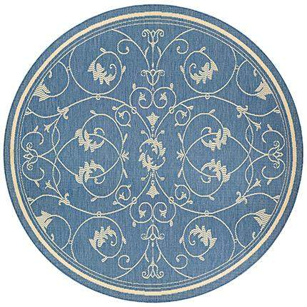 Recife Veranda Blue Round Outdoor Area Rugs-Rug Shop and More