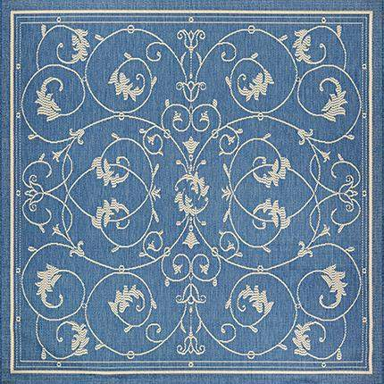 Recife Veranda Blue Square Outdoor Rugs-Rug Shop and More