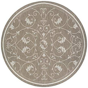 Recife Veranda Taupe Round Outdoor Area Rugs-Area Rugs-Rug Shop and More