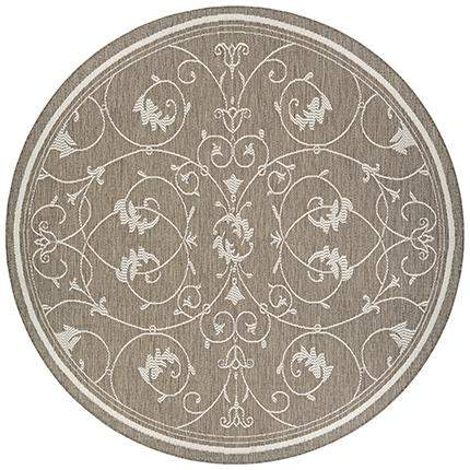 Recife Veranda Taupe Round Outdoor Area Rugs-Rug Shop and More