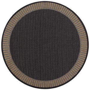 Recife Wicker Stitch Black Round Outdoor Rugs-Rug Shop and More