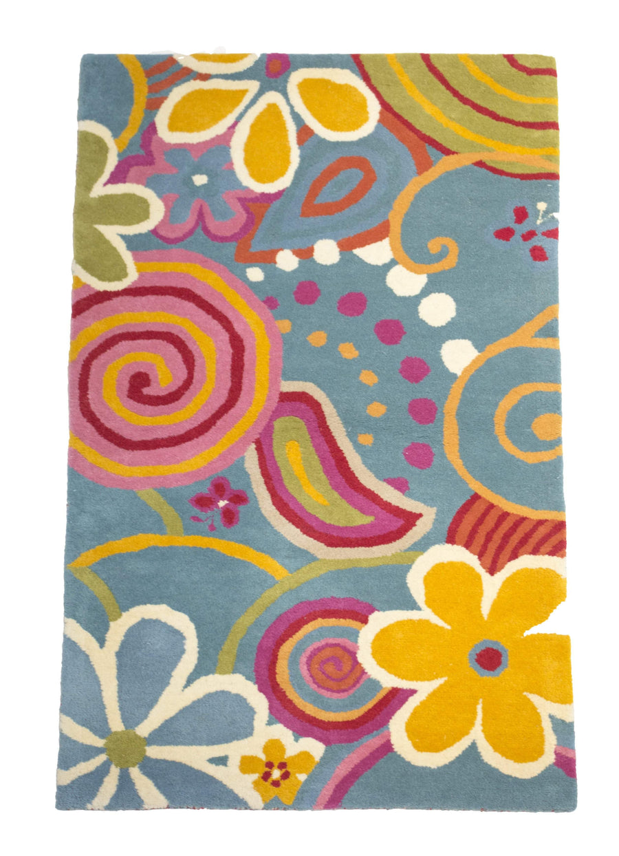 Retro Teen Blue Fun Rug-Rug Shop and More