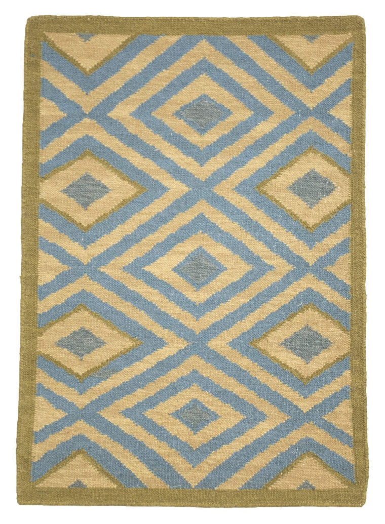 Flatweave Hand Knotted Wool 2 'x 3 ' Small Modern Area Rug Green and Blue