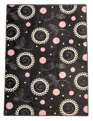 Swirl Flowers And Polka Dot Rug-Area Rugs-Rug Shop and More