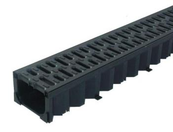 ACO Hexdrain Channel 125mm wide x 80mm invert A15 Black Plastic Grate