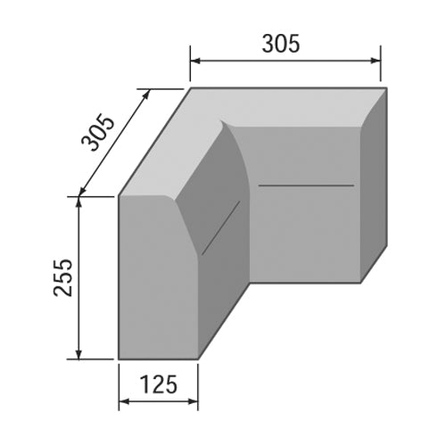 Half Batter Internal Angle 125 x 255mm