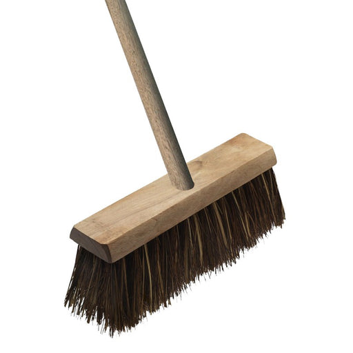"13"" Bassine Cane Yard Broom c/w 4' Wooden Handle"