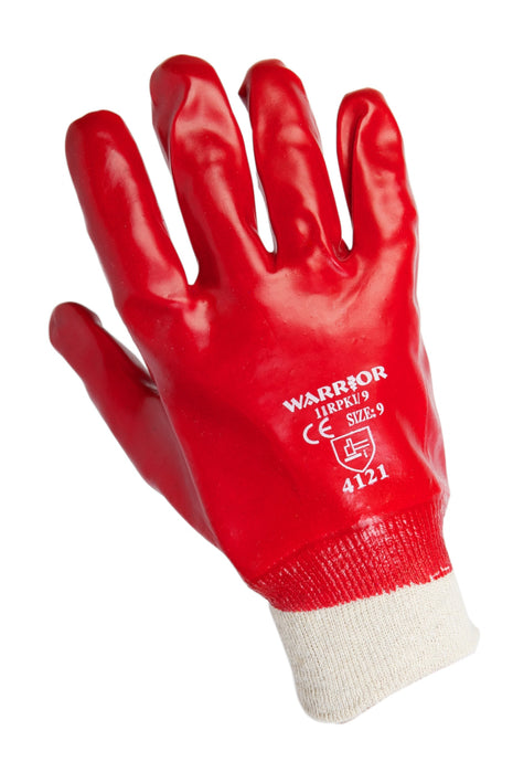 Red PVC Knit Wrist Gloves