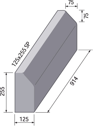 Splay 45° Straight Kerb 125 x 255mm