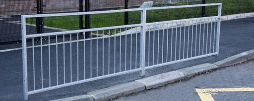"1150mm High Galvanised Steel Pedestrian Guardrail ""Letterbox"" (Various Lengths)"