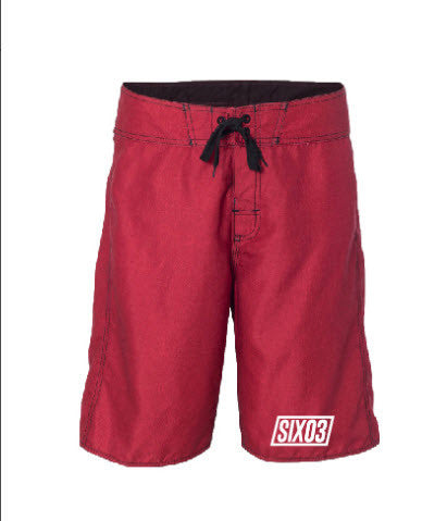 SIX03 Red Heathered Board Shorts