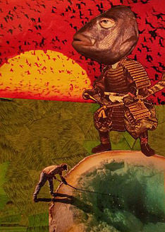 'Samurai Fish Warrior' - original collage